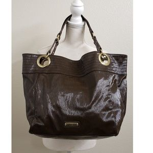 Steve Madden Brown Patent Leather Large Tote Bag